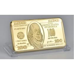 Président Jefferson - Lingot doré or 24 carats