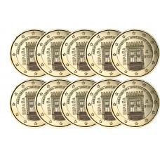Lot de 10 pièces Espagne 2020 - 2 euro dorée à l'or fin 24 carats
