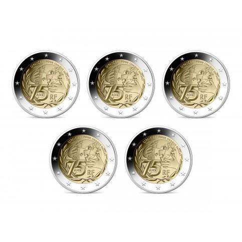 Lot de 5 pièces France 2021 - 2 euro commémorative Unicef