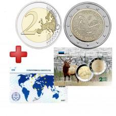 2 euros  Estonie 2021 Finno + carte commémorative