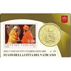 Vatican 2021 : Coincard 50 cts Pape François + timbre