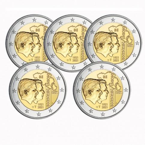 Lot de 5 pièces Belgique 2021 - 2 euro commémorative UEBL