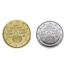 2 euros Portugal 2020 ONU dorée+argentée