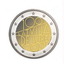 """Lettonie 2021 - 2 euro commémorative - """"100 ans"""""""
