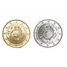 2 euros Italie 2012 10 ans dorée+argentée