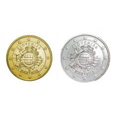 2 euros Slovénie 2012 10 ans dorée+argentée