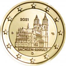 Allemagne 2021 Sachsen - 2 euro dorée à l'or fin 24 carats