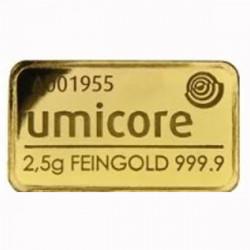Lingot Or pur 999‰ - 2.5g