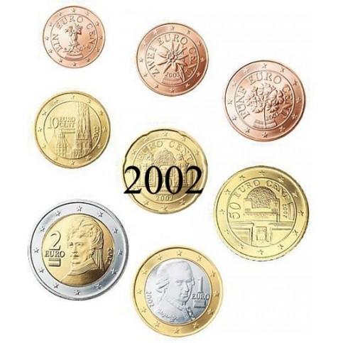 Autriche 2002 : serie de 1 cent a 2 euros