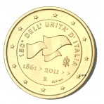 Italie 2011 - 2 euro commémorative dorée à l'or fin 24 carats