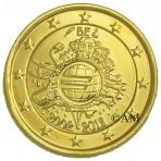 Belgique 2012 - 2 euro commémorative 10 ans de l'euro dorée à l'or fin 24 carats