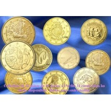 COLLECTION DE 10 PIECES DE 2?UROS COMMEMORATIVES DOREES OR FIN 24 CARATS