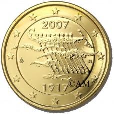 Finlande 2007 dorée à l'or fin 24 carats