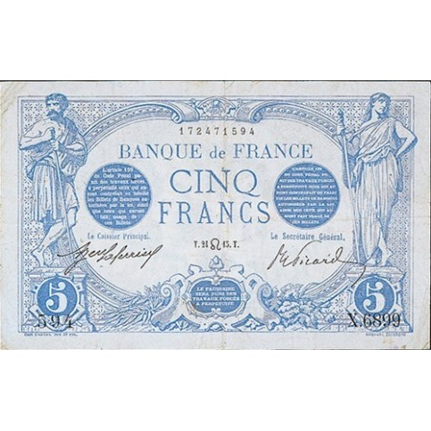 5 FRANCS - Signes du Zodiaque - Bleu - 1912-1917 - Etat SUP