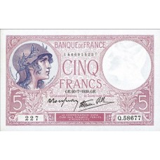 5 FRANCS - Violet - Modifie Caissier General - 1939-1940 - Etat SUP
