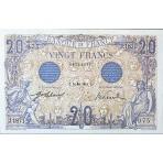 20 Francs - Bleu Personnages Mythologiques - Bleu- 1906-1913 - Belle qualité