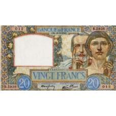 20 FRANCS - Science et Travail -1939-1942 - Etat SUP