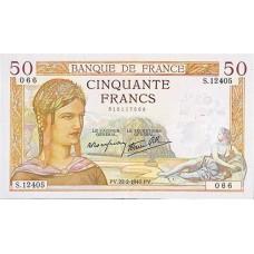 50 FRANCS - Ceres et Mercure - Le Caissier General - 1937-1940 - Etat TTB