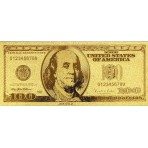 Reproduction billet 100 Dollars US - Doré or fin 24 carats