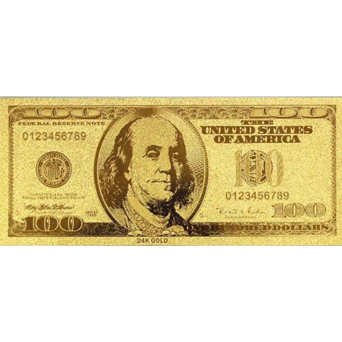 REPRODUCTION BILLET 100 DOLLARS  US - DORE OR FIN 24 CARATS