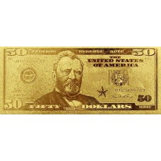 REPRODUCTION BILLET 50 DOLLARS  US - DORE OR FIN 24 CARATS