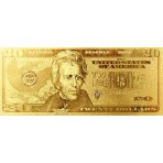 Reproduction billet 20 Dollars US - Doré or fin 24 carats