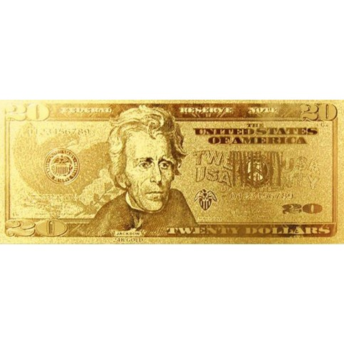 REPRODUCTION BILLET 20 DOLLARS  US - DORE OR FIN 24 CARATS