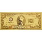 Reproduction billet 2 Dollars US - Doré or fin 24 carats