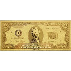 REPRODUCTION BILLET 2 DOLLARS  US - DORE OR FIN 24 CARATS