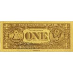 Reproduction billet 1 Dollar US - Doré or fin 24 carats