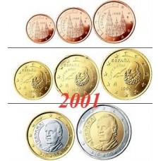 Espagne 2001 : serie de 1 cent a 2 euros