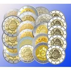 SERIE COMPLETE 21 PIECES DE 2 EUROS COMMEMORATIVES 10 ANS DE L EURO