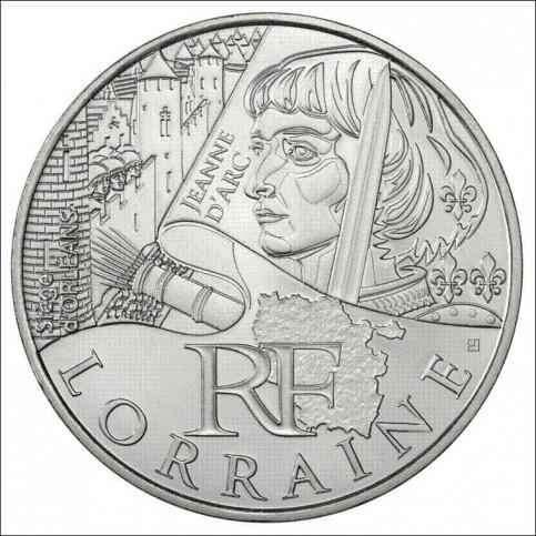 10 EUROS ARGENT  DES REGIONS 2012 - LORRAINE