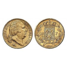 LOUIS XVIII tête nue - 1816/1824 - 20 FRANCS OR