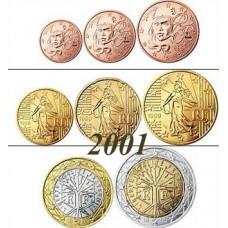 France 2001 : serie de 1 cent a 2 euros