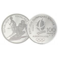 COFFRET ALBERVILLE JO 1992 - 9 MONNAIES 100 Francs ARGENT + 1 MONNAIE 500 Francs OR