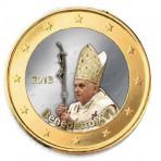 Benoit XVI 2013 - 1 euro domé en couleur