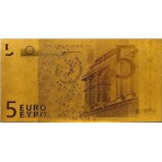 Reproduction billet 5 euro - Doré Or fin 24 carats