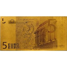 REPRODUCTION BILLET 5 EUROS - DORE OR 24 CARATS