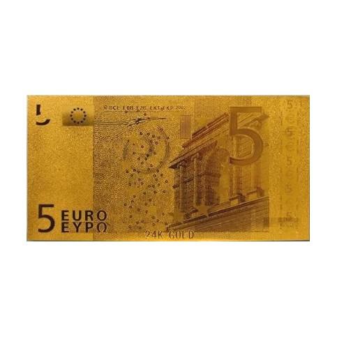REPRODUCTION BILLET 5 EUROS - DORE OR 24 CARATS