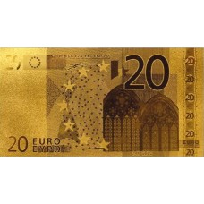 REPRODUCTION BILLET 20 EUROS - DORE OR 24 CARATS
