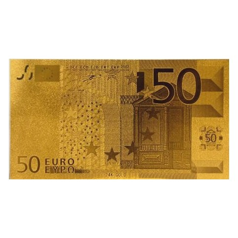 REPRODUCTION BILLET 50 EUROS - DORE OR 24 CARATS
