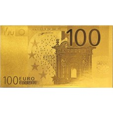 REPRODUCTION BILLET 100 EUROS - DORE OR 24 CARATS