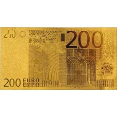 REPRODUCTION BILLET 200 EUROS - DORE OR 24 CARATS
