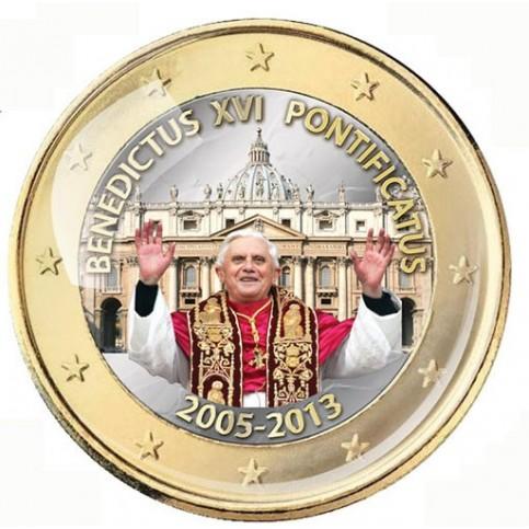 BENOIT XVI PONTIFICAT 2005/2013 - 1 EURO COULEUR