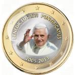 Benoit XVI Pontificat 2005/2013 - 1 euro domé en couleur