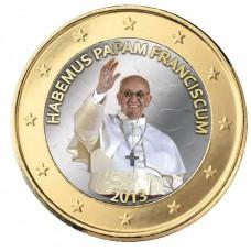 Pape Francois 2013 Nomination - 1 euro domé en couleur