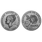 """Monaco - 10 Francs Essai Argent """"Princesse Grace"""" 1982"""