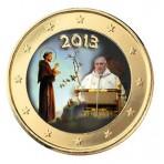 Pape Francois 2013 et Saint François d'Assise - 1 euro domé en couleur