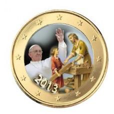 Pape Francois et Saint Joseph - 1 euro domé en couleur